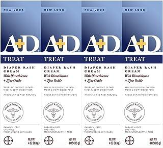 A+D Zinc Oxide Diaper Rash Treatment Cream, Dimenthicone 1%, Zinc Oxide 10%, Easy Spreading Baby Skin Care, 4 Ounce Tube (...