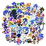 So_nic The Hedgehog Stickers Cute Cartoon Game Waterproof Decals Party Supplies for Kids, 50pcs