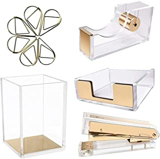 clear and gold desk accessories