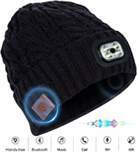 KerKoor Bluetooth Beanie Hat with Wireless Headphone Headset Speaker Mic Hands-Free Flashlight Rechargeable Headlamp Cap Valentine's Day for Winter Outdoor Sport Skiing Snowboard Jogging
