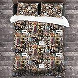 Juego de ropa de cama de 3 piezas de 218 x 177 cm, diseño de collage de Noah Schnapp con 2 fundas de almohada cuadradas para dormitorio de adultos