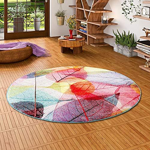 Pergamon Designer Teppich Faro Tropical Bunte Blätter Rund in 3 Größen