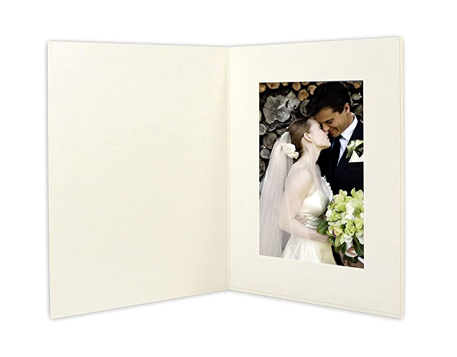 Golden State Art, Cardboard Photo Folder For a 4x6 Photo (Pack of 50) GS007 Ivory Color