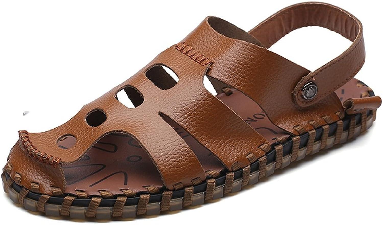 Sandalen, Herren Herren Herren Strand Hausschuhe Schneiden Echtes Leder Vamp Rutschfeste Sandalen Switch Backless (Farbe   Braun, Größe   43 EU)  3c0fed