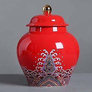 Mopoq Tea Caddy Ceramic Large Airtight Pot Enamel Large Size Tea Caddy Pu'er Tea Box Retro General Pot For tea, coffee, he...