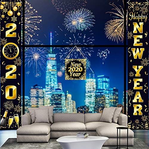 Blulu Juego de Decoración de Año Nuevo Cartel de Porche Decoración Colgante Pancarta de Bienvenida Año Nuevo para Decoración Interior/Exterior de Fiesta de Año Nuevo (Dorado New Year 2020)
