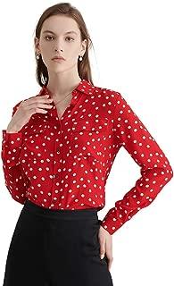 LilySilk Silk Shirts for Women Buttons Long Sleeve Vintage Polka Dot Pattern Pure Natural Silk Blouse