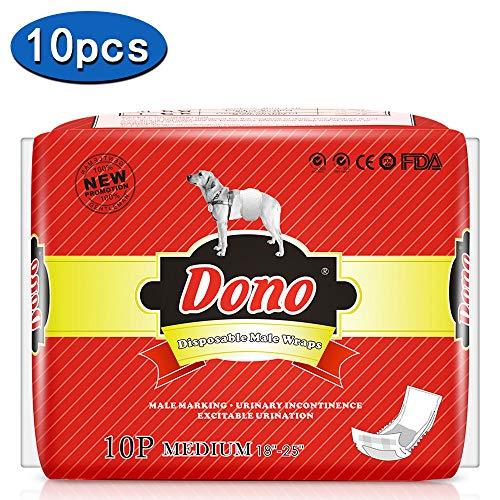 Pañales para mascotas para perros machos -DONO Nuevos pañales para perros desechables Abrigos para hombres Pañales súper absorbentes para perros machos (M 10pc (18