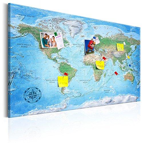 murando - Weltkarte Pinnwand & Vlies Leinwandbild 120x80 cm 1 Teilig Kunstdruck modern Wandbilder XXL Wanddekoration Design Wand Bild - Landkarte Lernkarte k-A-0127-v-a