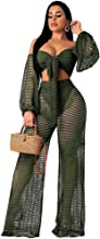 Speedle Women Fishnet Mesh See Through Bandeau Crop Top + Eyelet Long Wide Leg Pants 2 Piece Outfits