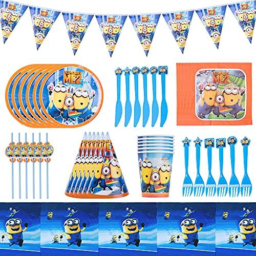 Set de Fiesta de Cumpleaños de Minion Hilloly Minion Cumpleaños Vajilla Vajilla De Fiesta De Cumpleaños Vajilla de Fiesta Temática Incluye Platos, Tazas, Mantel
