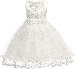 KINDOYO Newborn Baby Girls Sleeveless Dresses - Kids Applique Christening Princess Wedding Tulle Dress Fancy up Ball Gown, Beige, 18M
