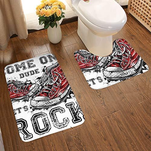 Doinh Vloermat 100% Polyester Vezel, Flanellen Stof Badkamer U Gevormde Tweedelige Mat Oude Sneakers Rock Grafische Bad Tapijten Voor Bad/Tub/Douche 20x31.5 Inch