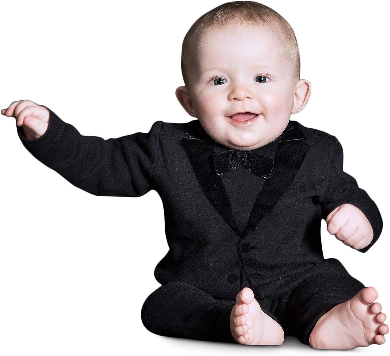 The Tiny Universe Tuxedo Onesie for Fancy Baby Boys, Satin Bow-Tie, Original Swedish Design