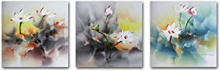 Muzagroo Art Stretched Oil Painting Lotus Original Art 100% Hand Painted Art for Living Room Canvas Pictures 3 Panels (16x16inx3pcs)
