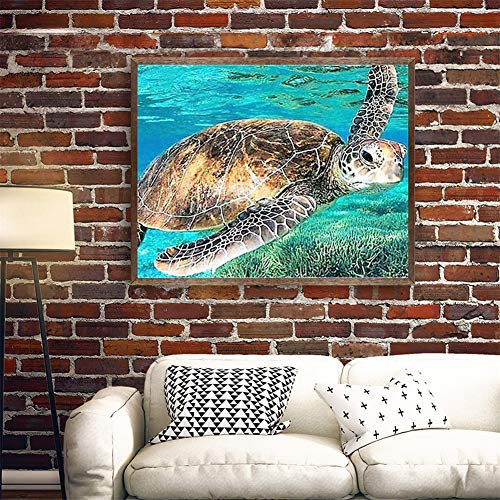 Diamond Painting large Full Drill Tortuga marina,5D DIY pintura Diamantes de imitación de cristal dot punto de cruz bordado art craft for Living bedroom wall decor Square Drill,70x90cm(28x36in)
