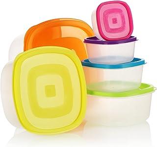 COM-FOUR® Ensemble de bocaux en plastique 6 pièces, contenant de rangement, boîtes de rangement pour aliments en 6 taille...