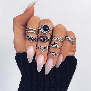 YERTTER Men 10 pcs Vintage Silver Ring Set Gem Rings Set Flower Rings Set Joint Knuckle Ring Set Finger Rings Stackable Re...