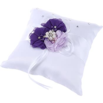 Wedding Ring Cushion Juvale Ring Bearer Pillow Classic White Satin Pillow with Black Bowknot and Floral Lace Trim 7.75 x 7.75 x 3.5 Inches Engagement Ring Pillow