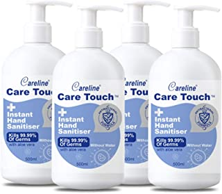 Care Touch Value Pack 4x500ml Instant Hand Sanitiser, 75% Alcohol, Kills 99.99% of Bacteria, Made in China