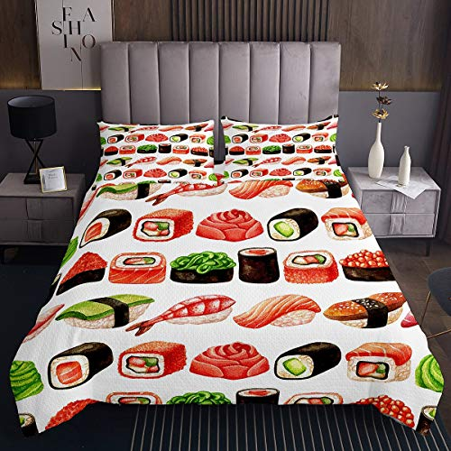 Kinder Japanisches Sushi Tagesdecke Exotisches im japanischen Stil Steppdecke Netter Karikatur Köstlicher Lachs Bettüberwurf 170x210cm für Jungen Mädchen Chic Grid Plaid