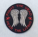 Fight The Dead Fear The Living Dixon Walking Dead Embroidered Iron On / Sew On Backpacks Jackets Jeans Vests Patch