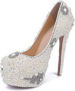 Women's High Heels Wedding Shoes, Shallow Mouth Stiletto Heel High 16Cm Pearl Rhinestone Bow Sexy Platform High Heels Non-Abrasive Feet for Banquet Wedding