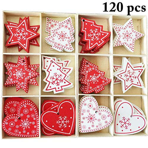Outgeek 120PCS Natale Appeso Ornamento Fai da Te Artigianale in Legno Decorazione Appesa (120PCS)