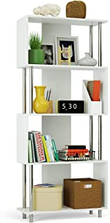 Giantex 4 Shelf Bookcase Modern Display Shelf Organizer Snaking Bookshelf Industrial Style Storage Display Unit Bookshelf 72.5 Inch Height (White)