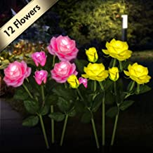 Outdoor Solar Garden Stake Lights [Set of 6] Flower Path Solar Light with 12 Flowers, Garden Decor Statues Pathway Landscape Lighting Lights for Patio Yard Decoration(Yellow and Pink)