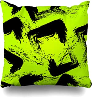 Ahawoso Throw Pillow Cover Chaotic Green Black Abstract Sport Pattern Girl Boy Childish Color Comic Design Decorative Pillow Case Home Decor Square Size 20x20 Inches Pillowcase