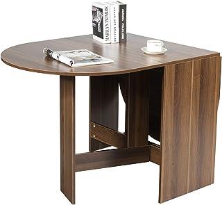 Costway Table de Salle à Manger Pliable,Table Multifonctions en Bois,Charge Maximale 60KG avec Plateau Rond Ovale pour Mai...