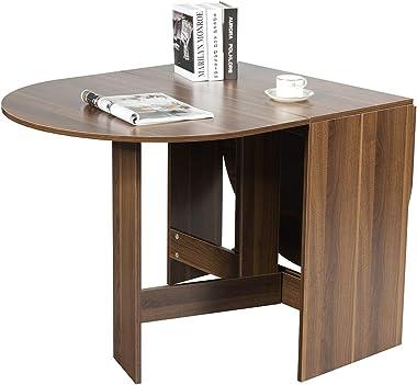 Costway Table de Salle à Manger Pliable,Table Multifonctions en Bois,Charge Maximale 60KG avec Plateau Rond Ovale pour Maison