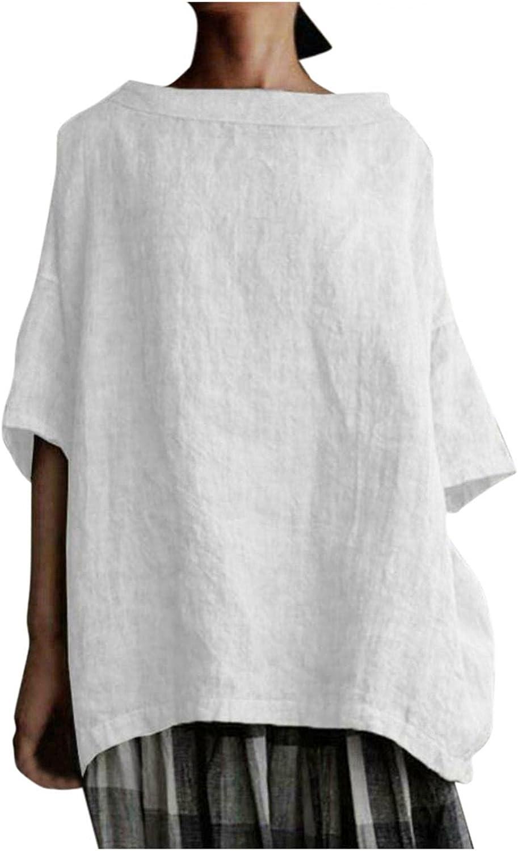 Women Cotton Linen Tshirt Tops High Low Hem Crewneck Flowy Blouses 3/4 Sleeve Casual Tunic Tees