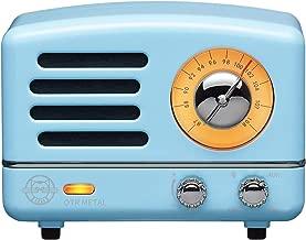 Muzen Portable Wireless High Definition Audio FM Radio & Bluetooth Speaker, Metal Blue, Travel Case Included - Classic Vintage Retro Design