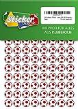 252 Pegatinas de fútbol, 15 mm, blanco/rojo, de PVC, lámina impresa, autoadhesiva, EM, WM, Bundesliga