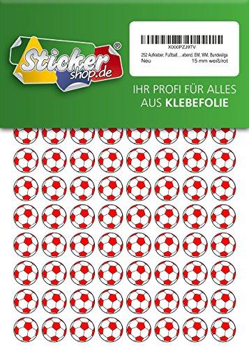 252 Aufkleber, Fußball, Sticker, 15 mm, weiß/rot, aus PVC, Folie, bedruckt, selbstklebend, EM, WM, Bundesliga