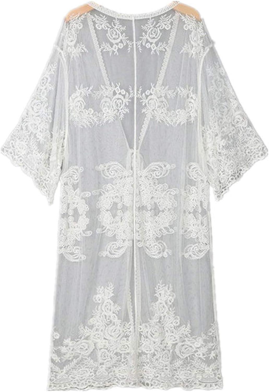 Swimwear 2020 Women Beach Cover-up Embroidery Half Sleeve Chiffon Kimono Cardigan Cover-Ups Tops Black White Beach Wear
