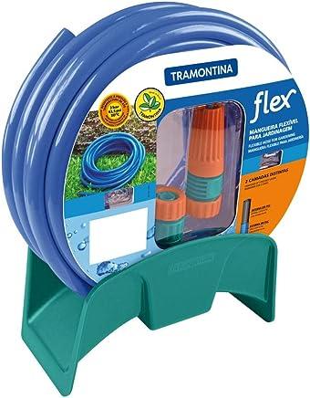 Mangueira flexível para jardim 20 m com engates esguicho e suporte azul - Flex - Tramontina
