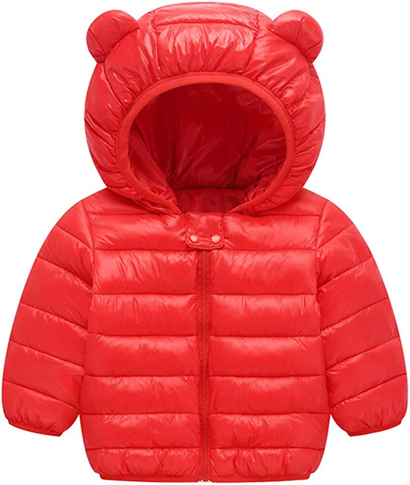 LittleSpring Toddler Boys Girls Puffer Jacket with Ear Hood Down Coat Casual Warm