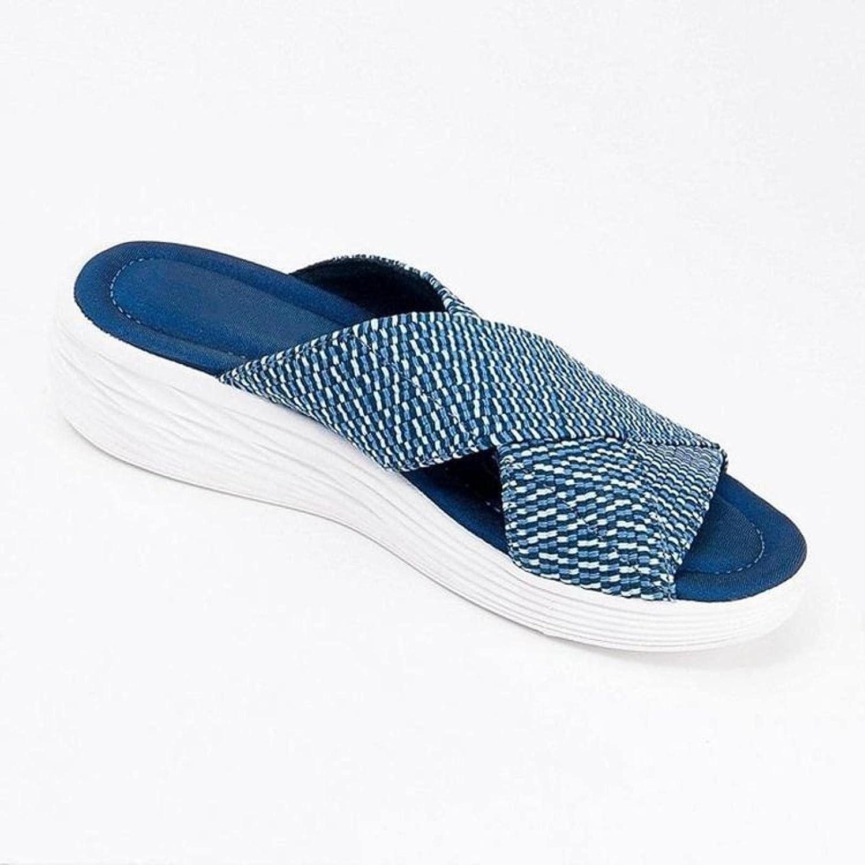 DaVanck Women's Sandals 2021 Summer Flat Slope Heel Fish Mouth Cross Fashion Rhinestone Sandals and Slippers Blue