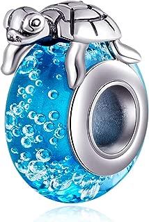 Sambaah Turtle Charm Sterling Silver Green Sea Tortoise Charm Pendant Blue Murano Glass Charm Bead Lucky Turtle Charm for Bracelets