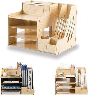 SUPANT Fibreboard Office Desk Organizer Set & Accessories, Multi-Functional DIY Pen Holder Box for Kid Men Women, Desktop Stationary, Paper Filer Trays Organization, Home Office Supply Storage Rack