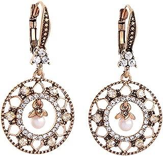 Earrings for Women Six Type Luxury Crystal Glass Flower Acrylic Pearl Drop Earrings for Women Gifts Vintage Color Dangle Earring Accessory