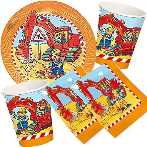 37-teiliges Party-Set * Bagger & Baustelle * mit Teller, Becher, Servietten und Deko für Kindergeburtstag und Mottoparty // Geburtstag Baumeister Bob