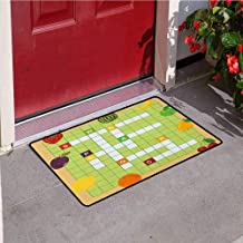 RelaxBear Word Search Puzzle Universal Door mat Vivid Graphic Summer Fruits with Educational Crossword Game for Kids Door mat Floor Decoration W31.5 x L47.2 Inch Multicolor