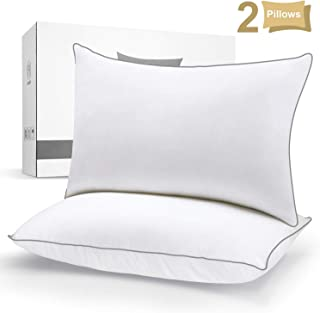HOKEKI Pillows for Sleeping with Luxury Hotel Collection Quality, Pillows Queen Size Set of 2, Down Alternative Bed Pillow for Back, Stomach, and Side Sleepers, (2-Pack), White