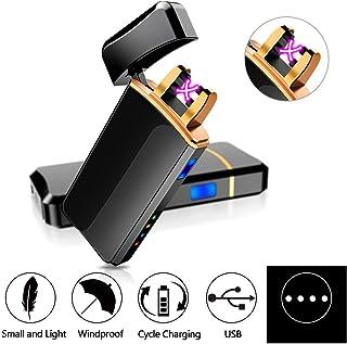 ASANMU - Mechero eléctrico USB, recargable, resistente al viento, con pantalla LED, mechero para cocina, tiendas de campaña, fuego y Navidad, color negro