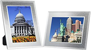 Disi 4x6 Silver Glitter Glass Photo Frame Crystal Sparkle Mirror Frames, for Wedding & Friends,2 Pack