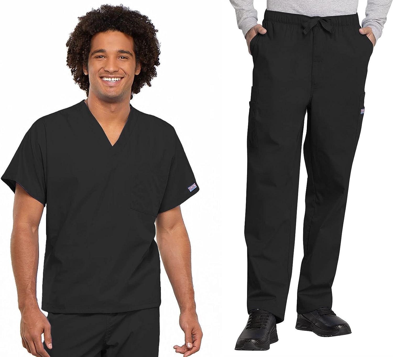 Workwear Revolution Men & Women Scrubs Set V-Neck Top 4777 & Drawstring Pant 4000T (Black, M/M Tall)
